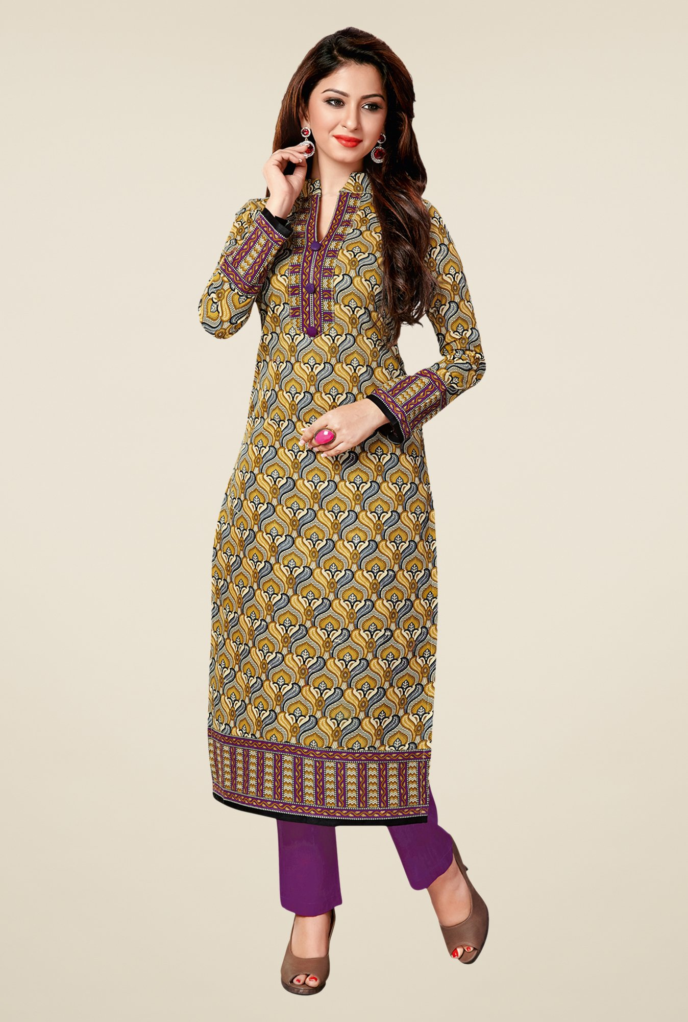 Salwar Studio Olive & Purple Cotton Printed Unstitched Kurti