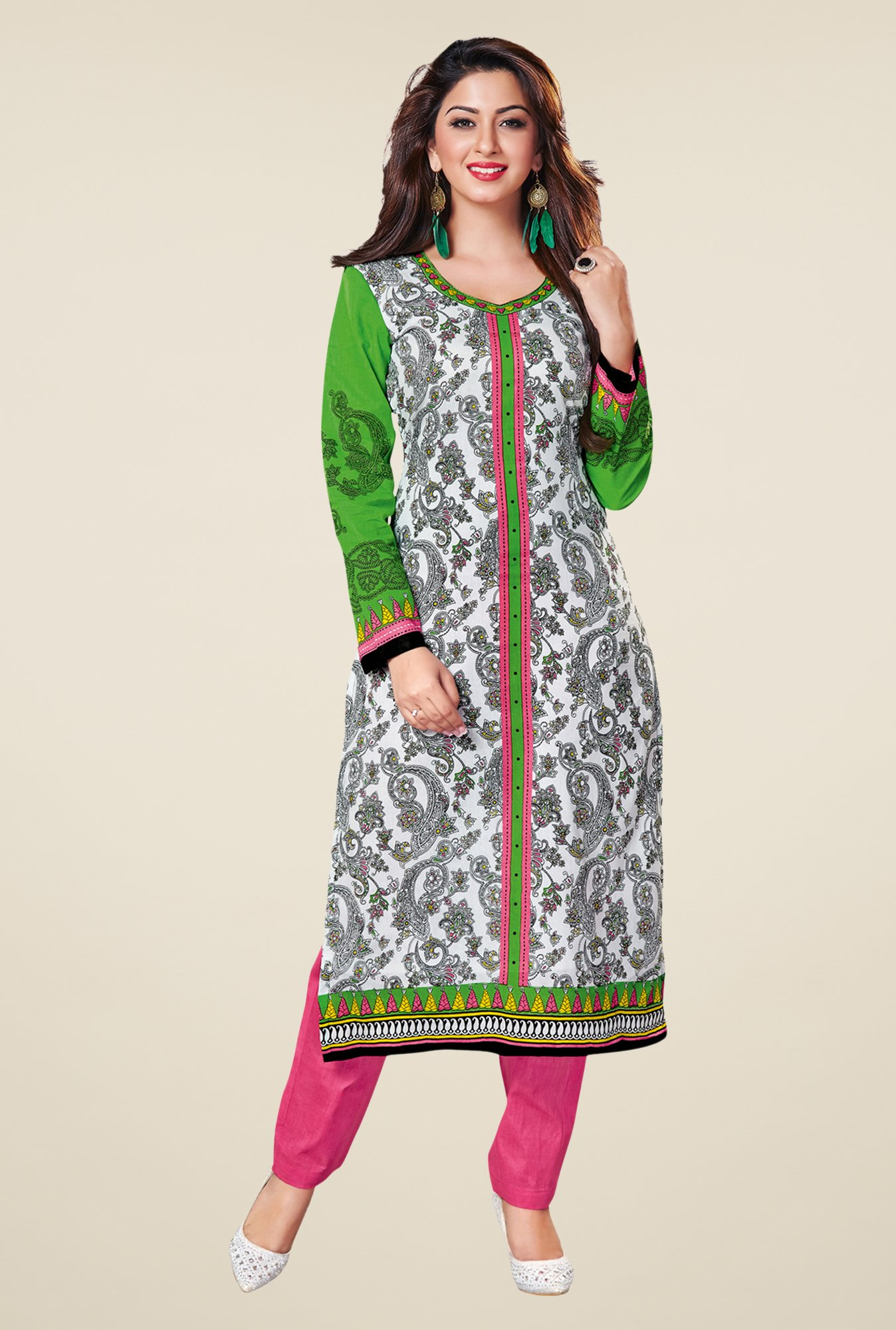 Salwar Studio White & Green Cotton Printed Unstitched Kurti