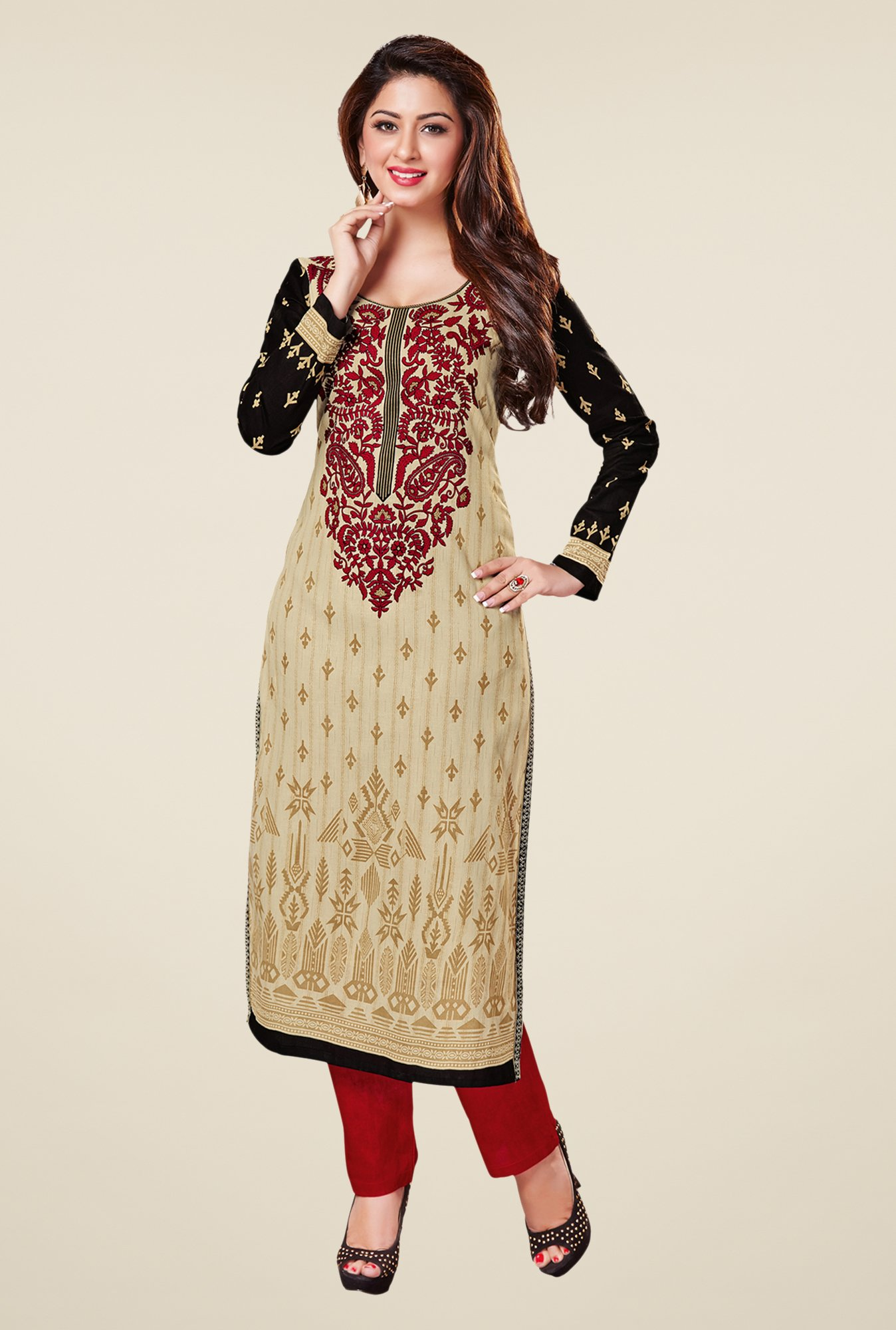 Salwar Studio Beige & Black Embroidered Unstitched Kurti