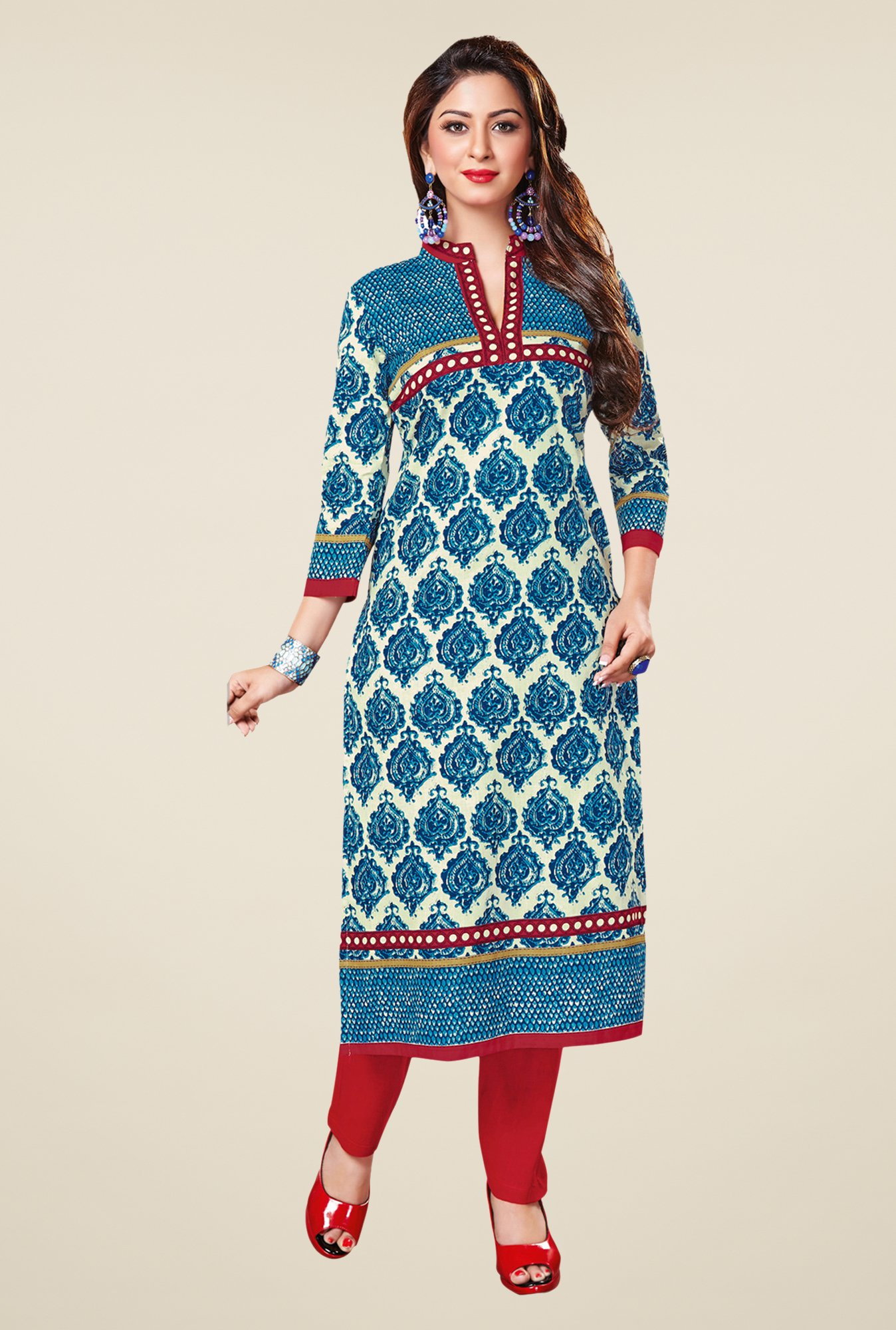 Salwar Studio Blue & Cream Cotton Printed Unstitched Kurti