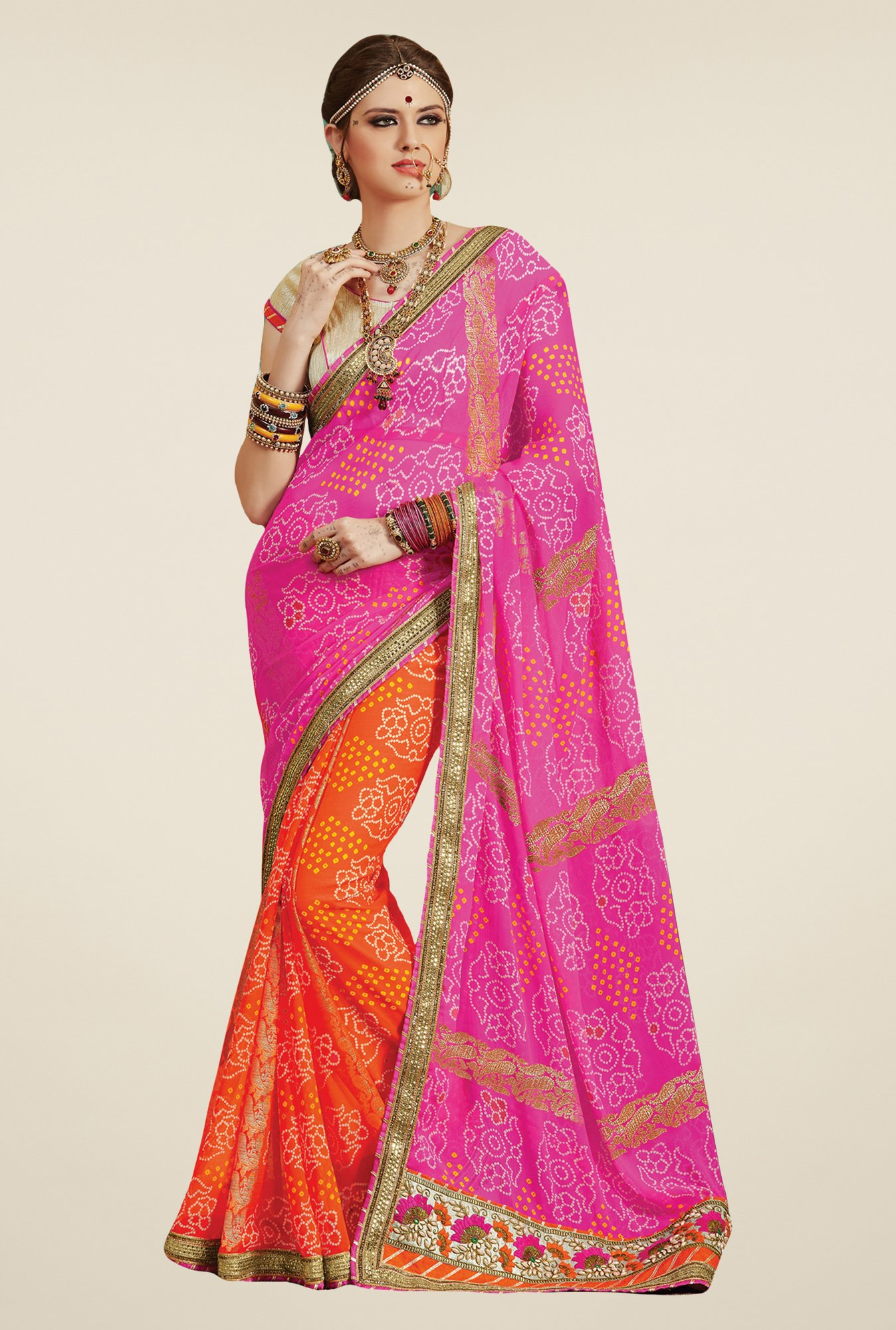 Salwar Studio Pink & Orange Georgette Bandhej Saree