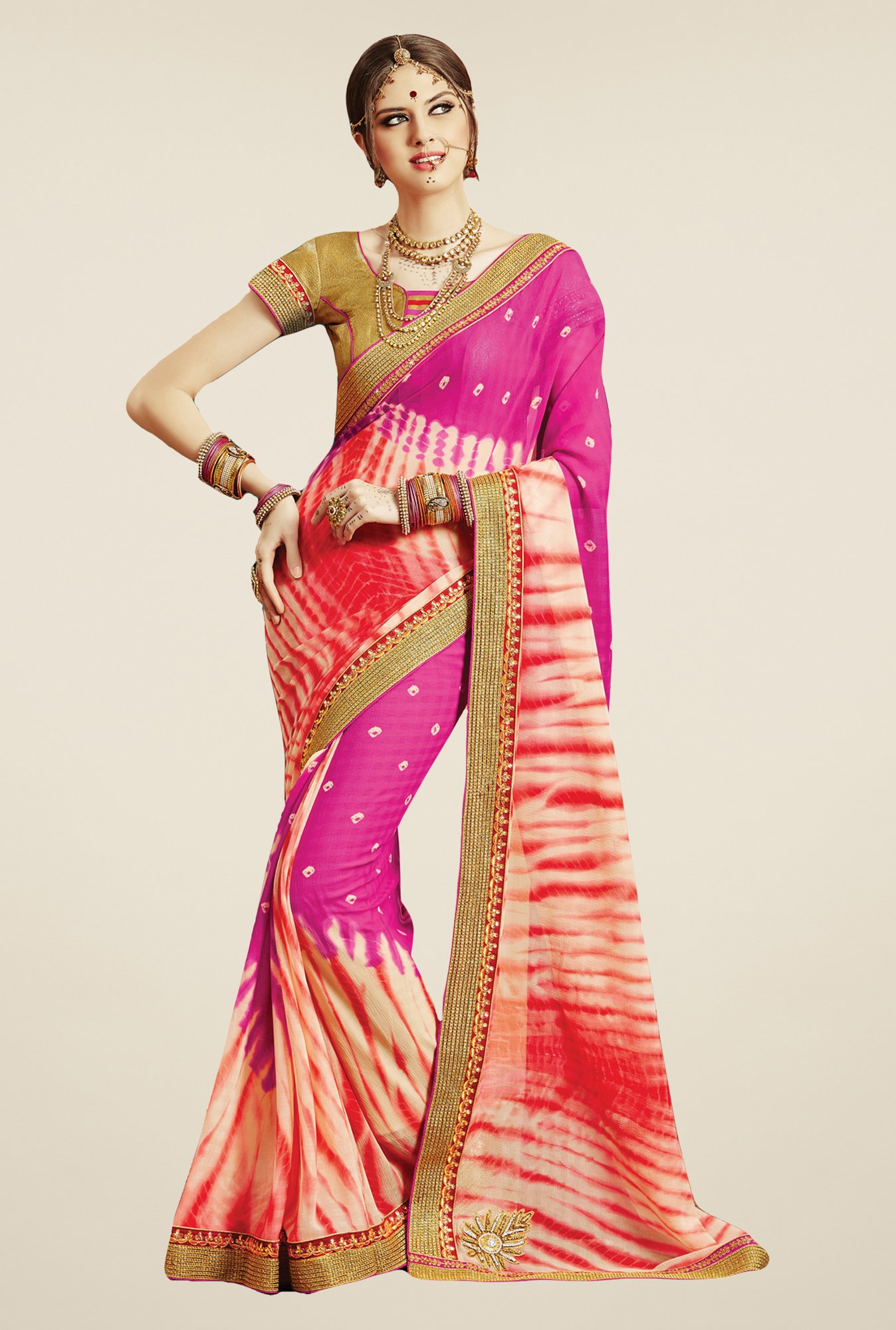 Salwar Studio Pink & Red Georgette Bandhej Saree