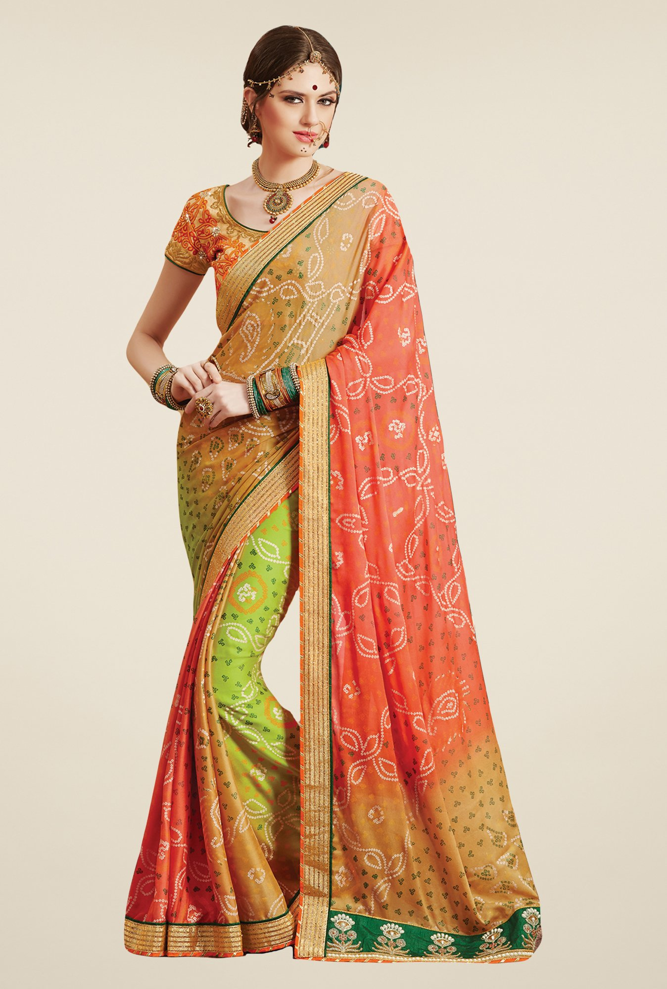 Salwar Studio Multicolor Georgette Bandhej Saree