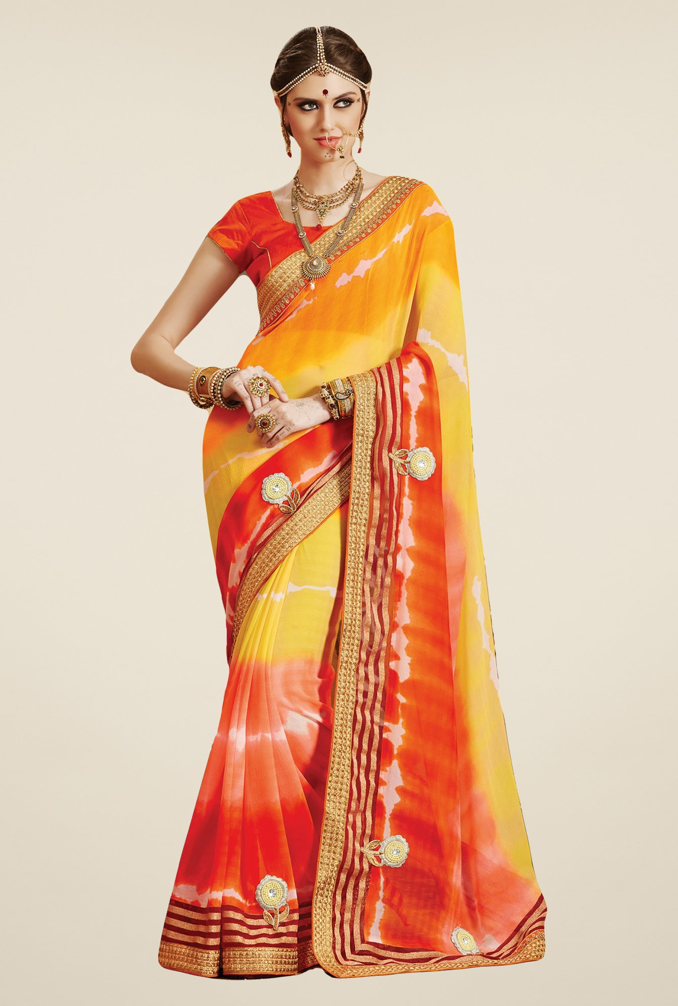 Salwar Studio Orange & Yellow Georgette Bandhej Saree