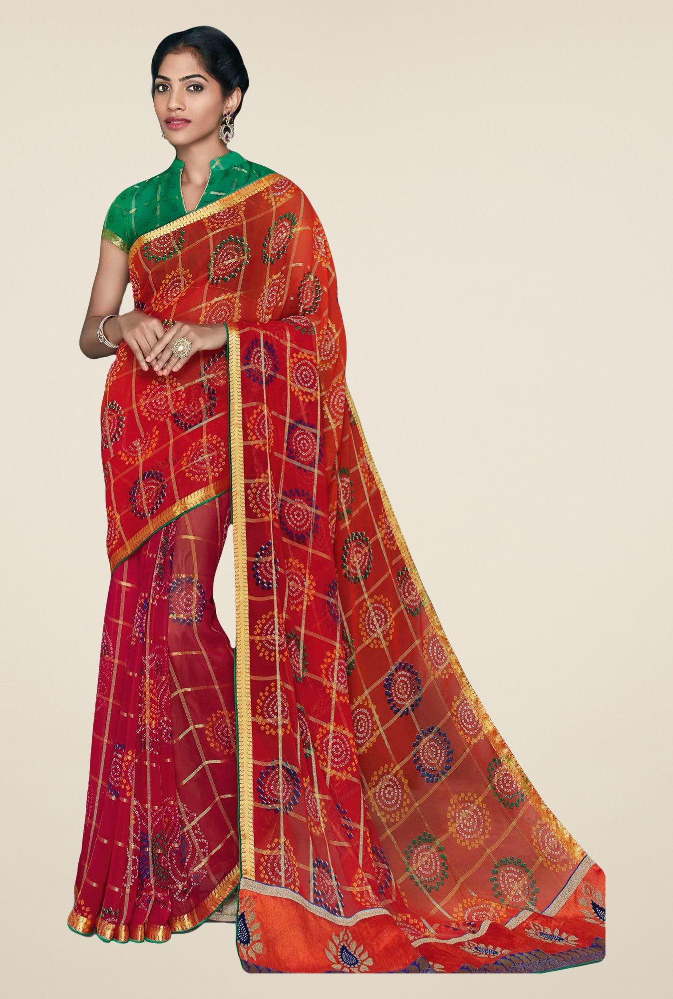 Salwar Studio Red & Green Georgette Bandhej Saree
