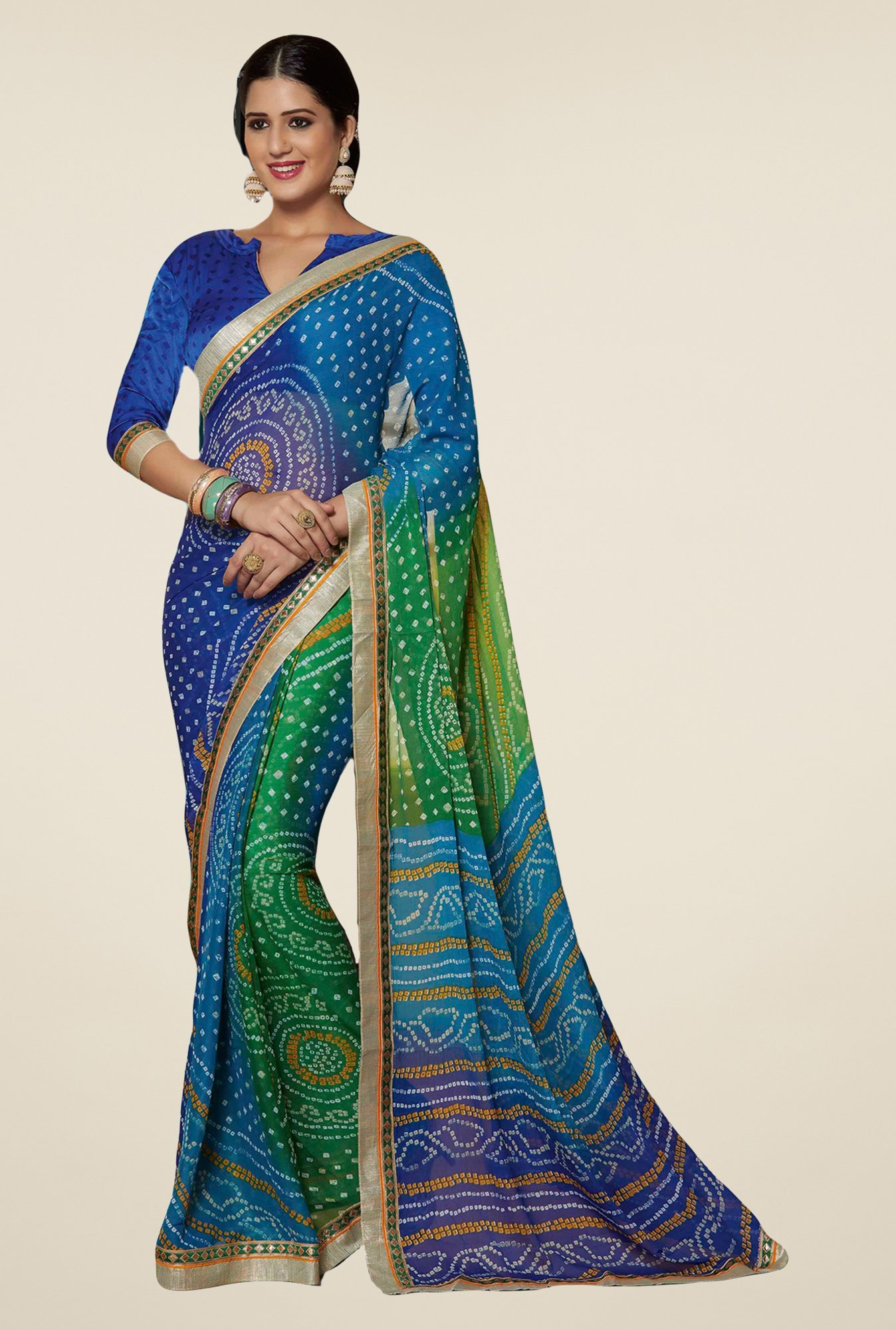 Salwar Studio Blue & Green Georgette Bandhej Saree