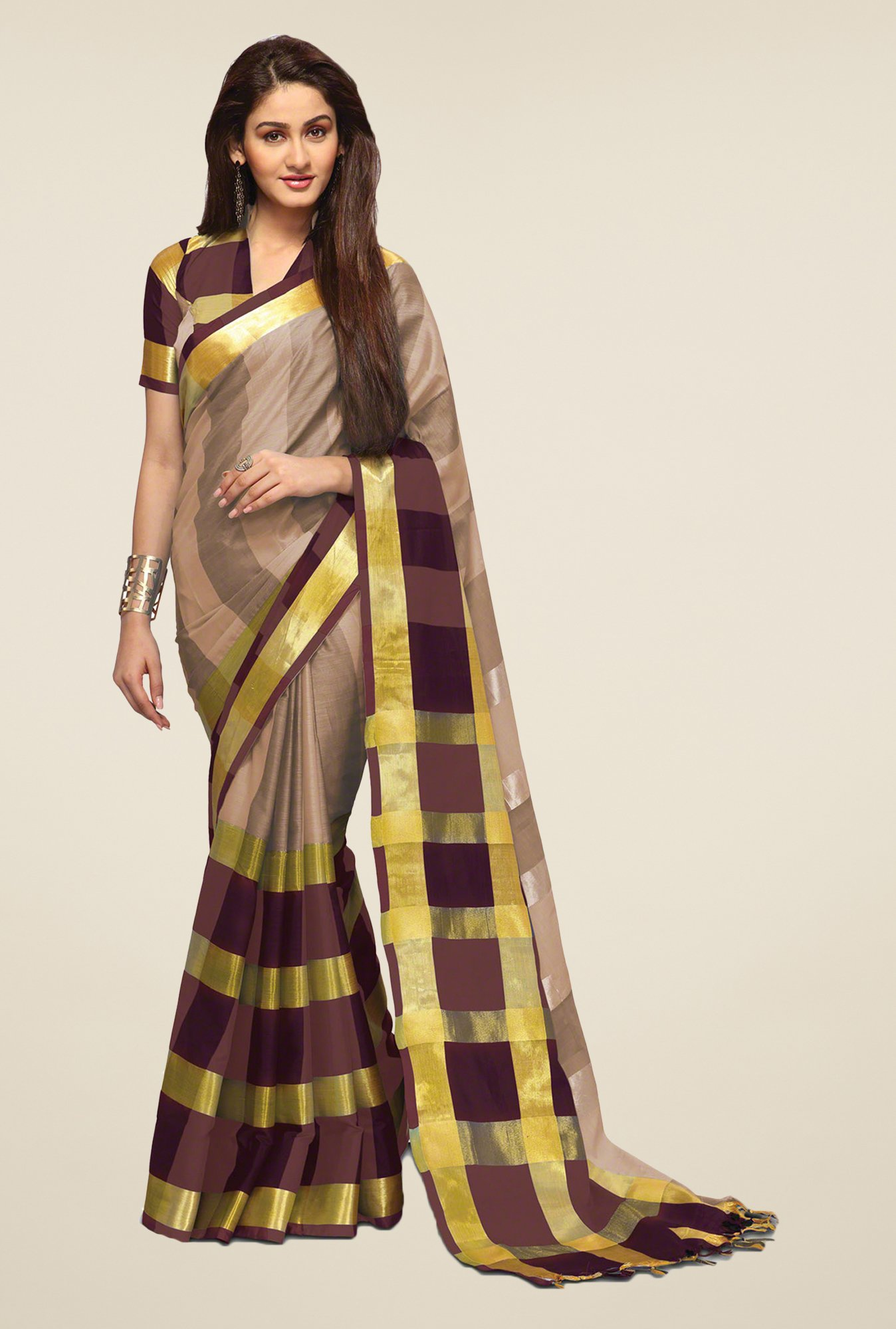 Salwar Studio Beige & Brown Saree