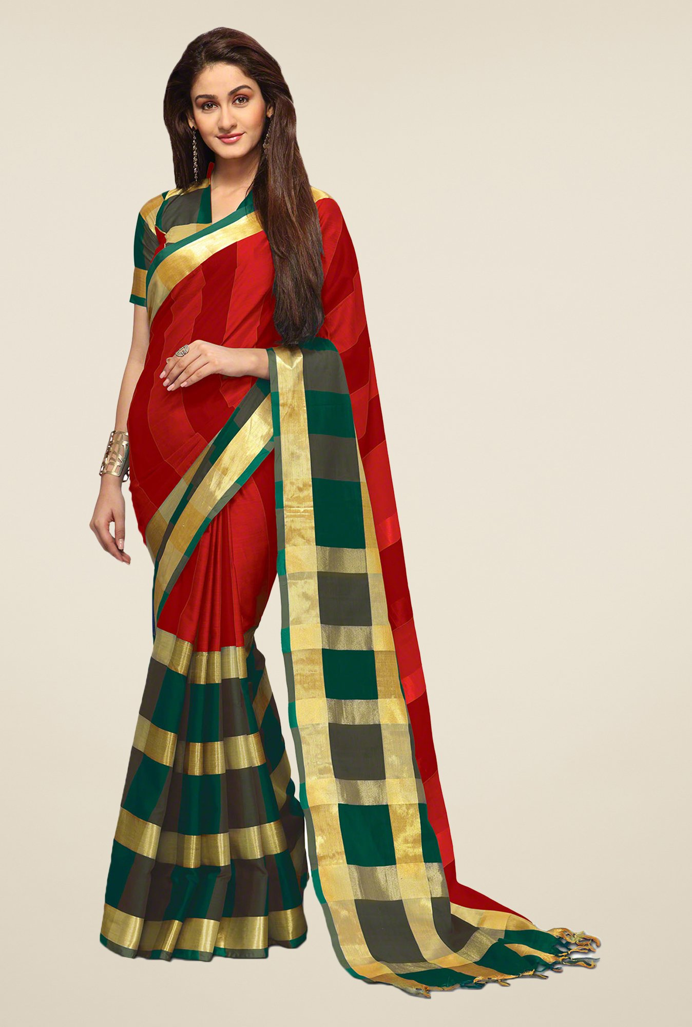 Salwar Studio Red & Green Striped Saree