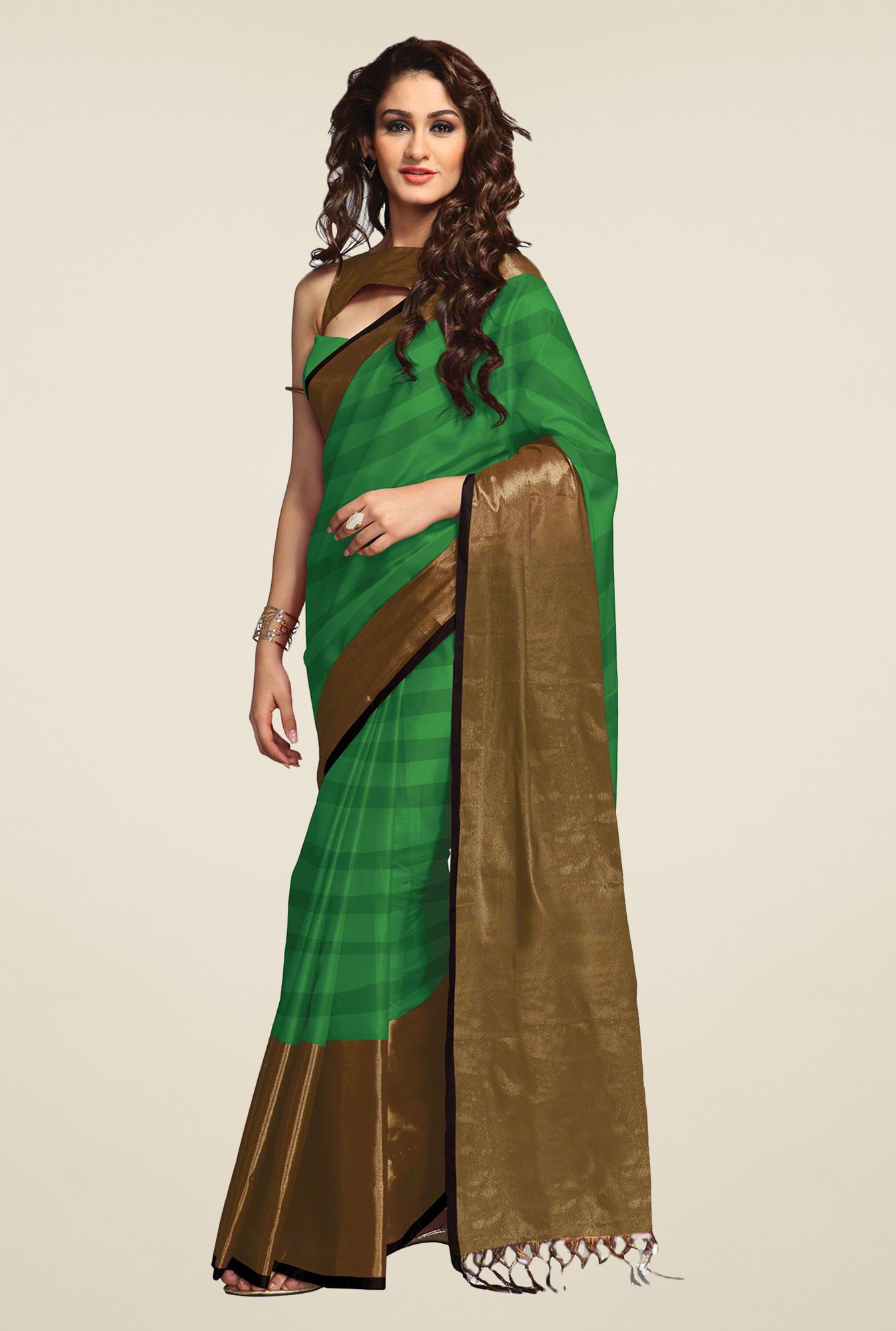 Salwar Studio Green Striped Saree