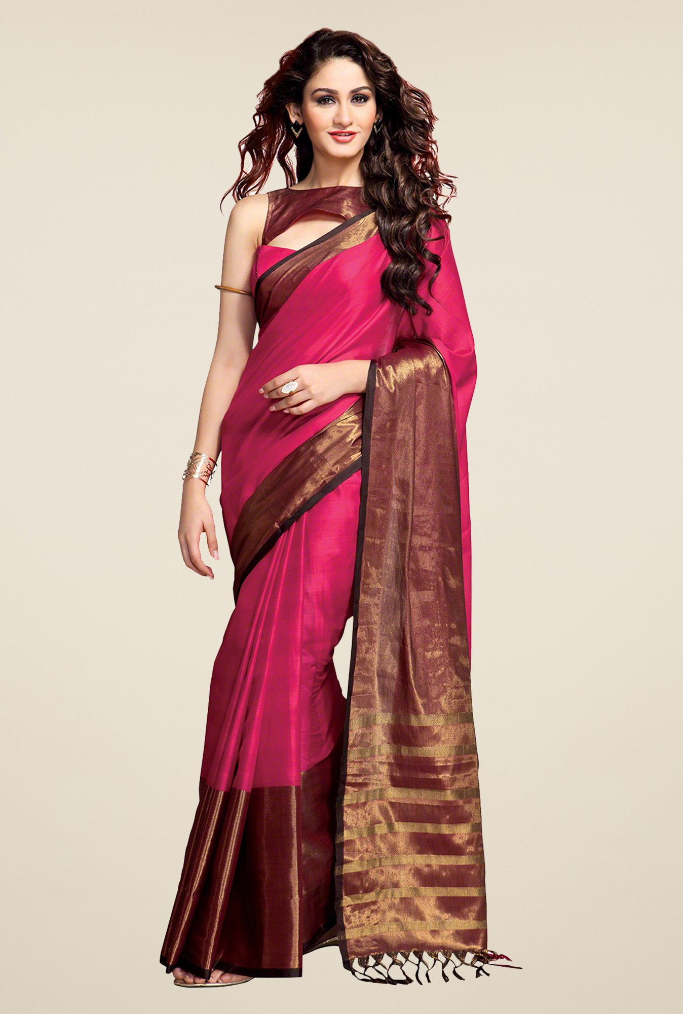 Salwar Studio Pink Striped Saree