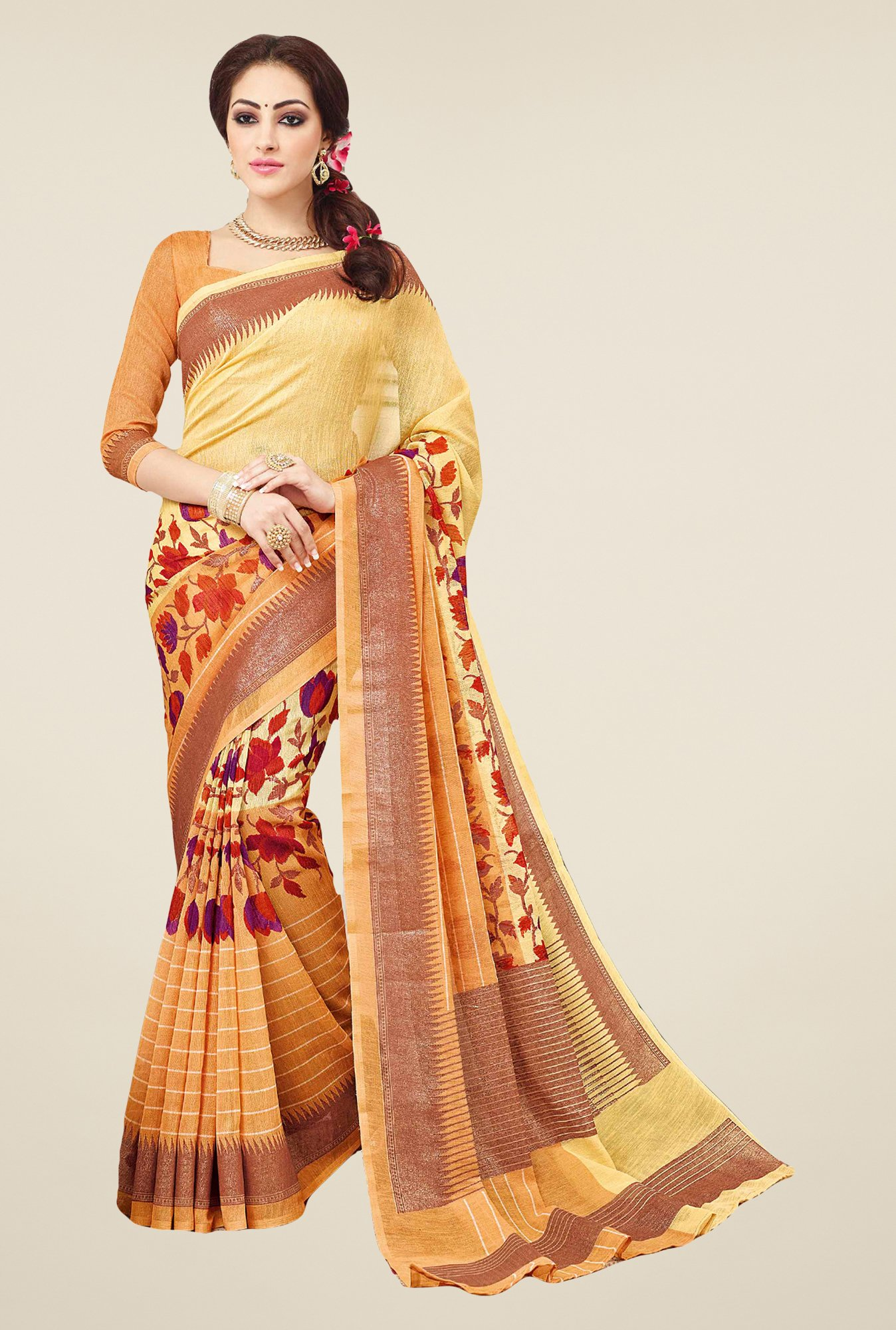 Salwar Studio Yellow & Orange Valkalam Bhagalpuri Silk Saree
