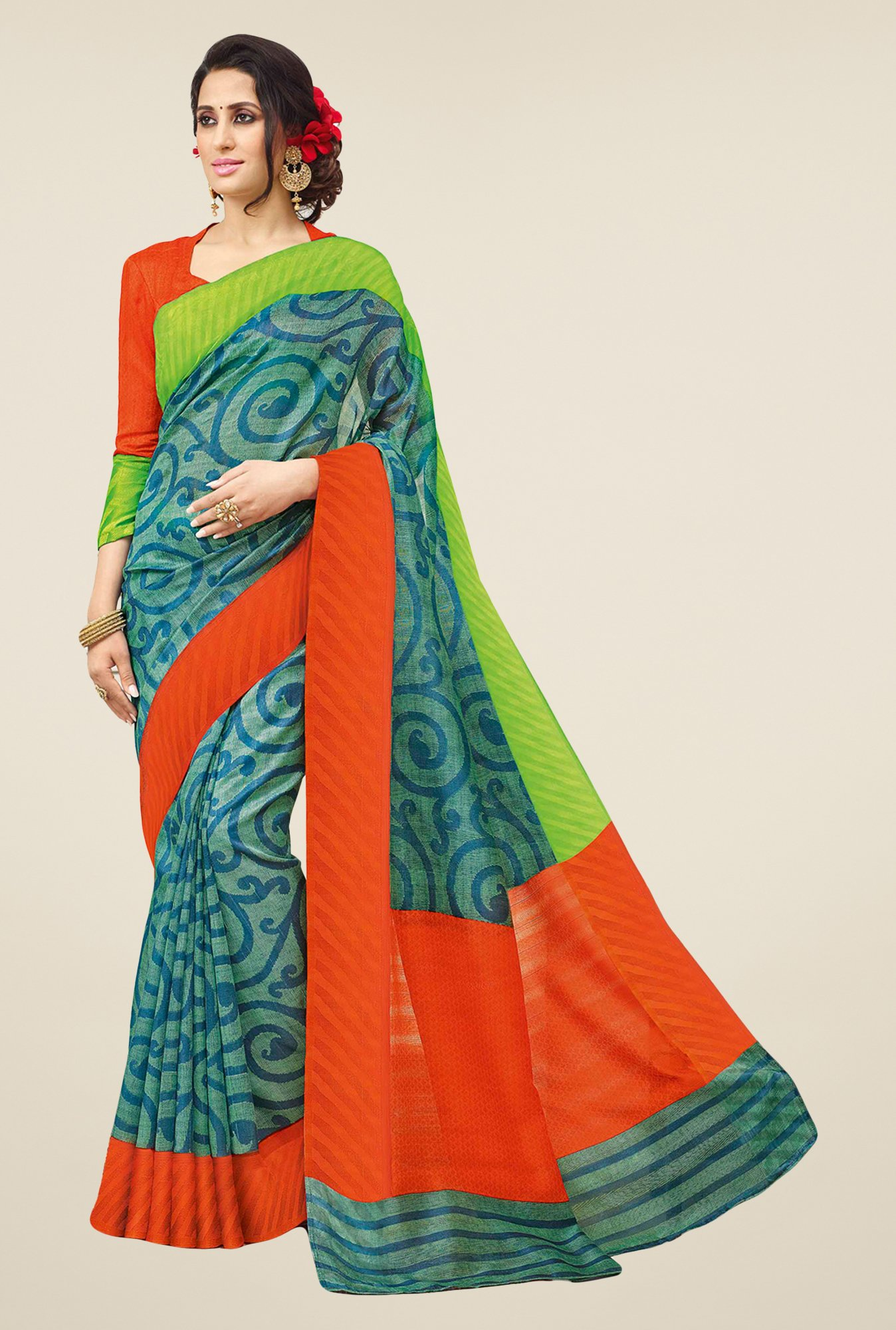 Salwar Studio Green & Orange Valkalam Bhagalpuri Silk Saree