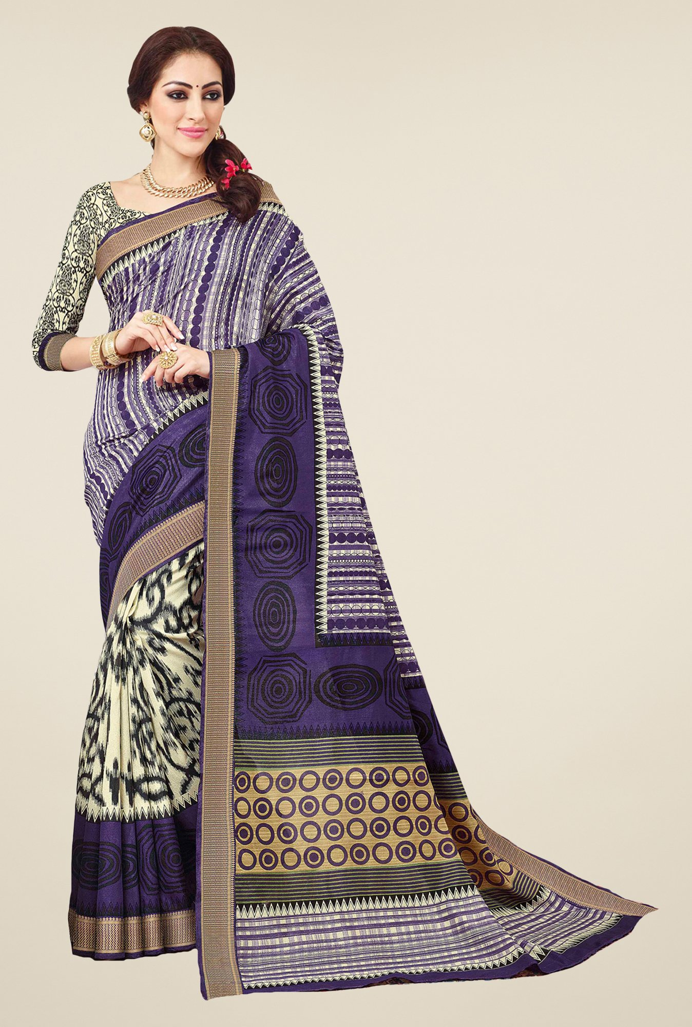 Salwar Studio Purple & Cream Valkalam Bhagalpuri Silk Saree