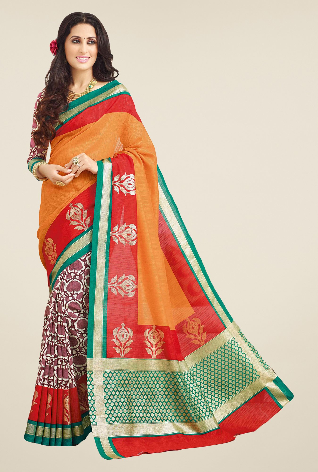 Salwar Studio Orange & Red Valkalam Bhagalpuri Silk Saree