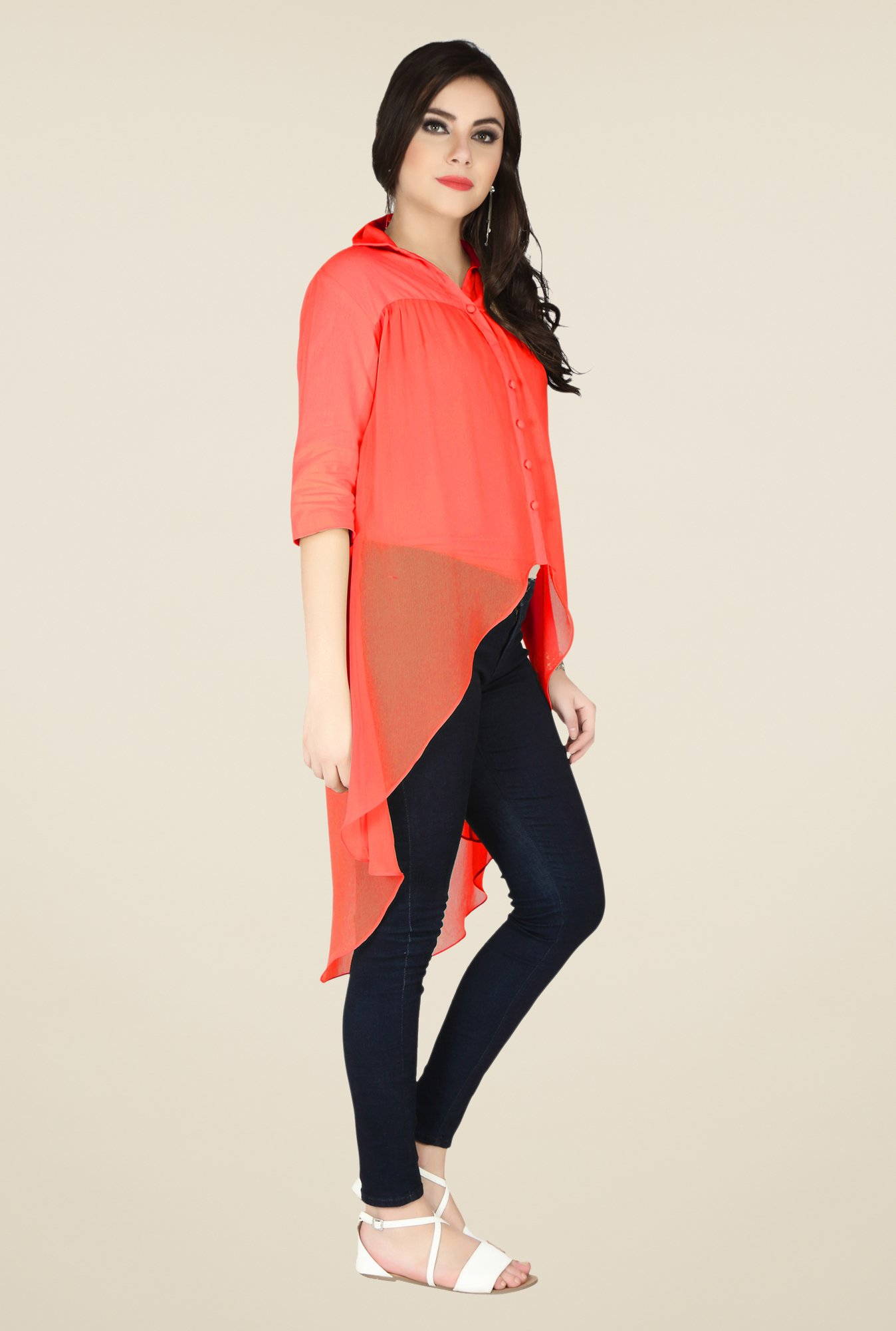 Soie Red Solid Top