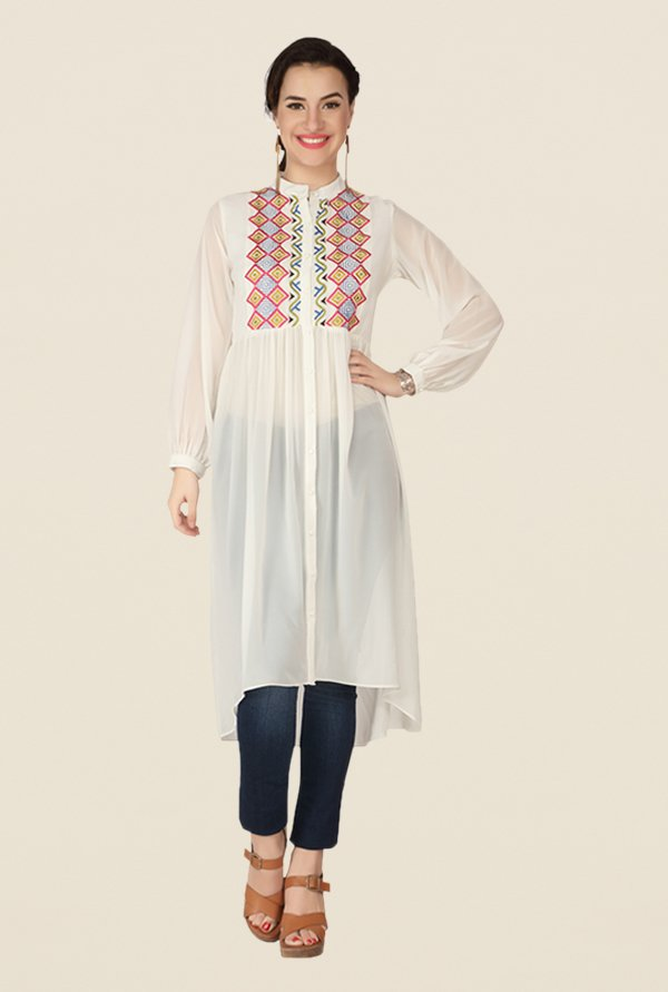 Soie Off White Printed Tunic