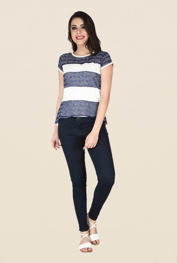 Soie Navy & Off White Embellished Top