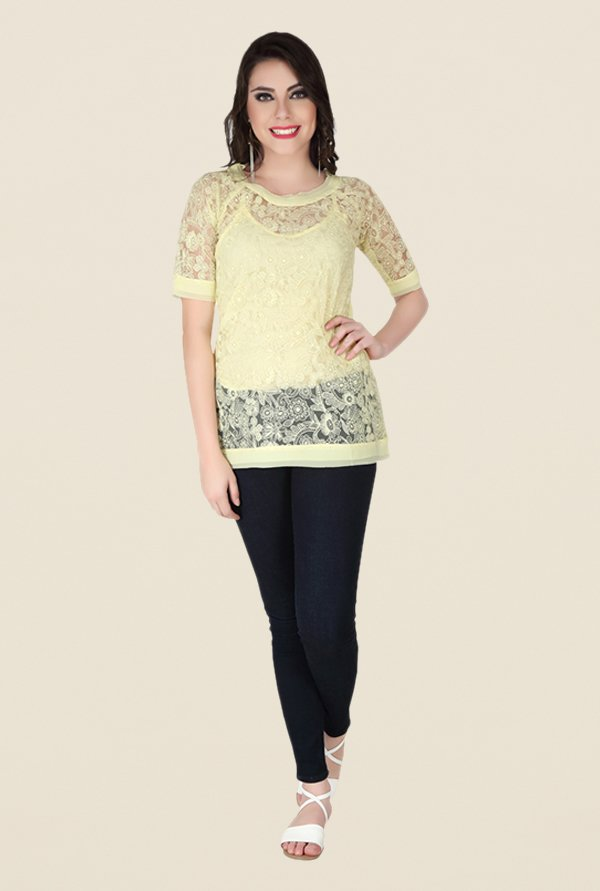 Soie Yellow Lace Top