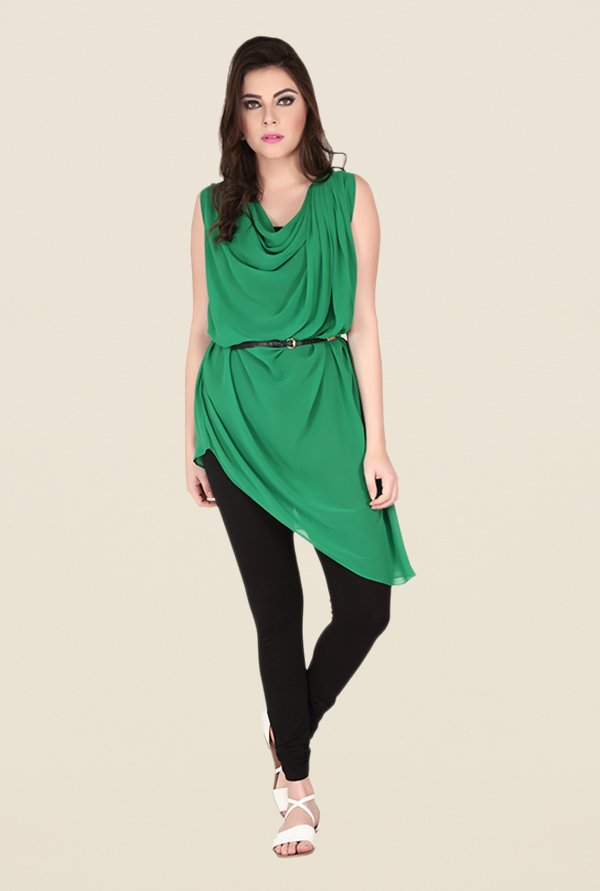 Soie Green Solid Tunic