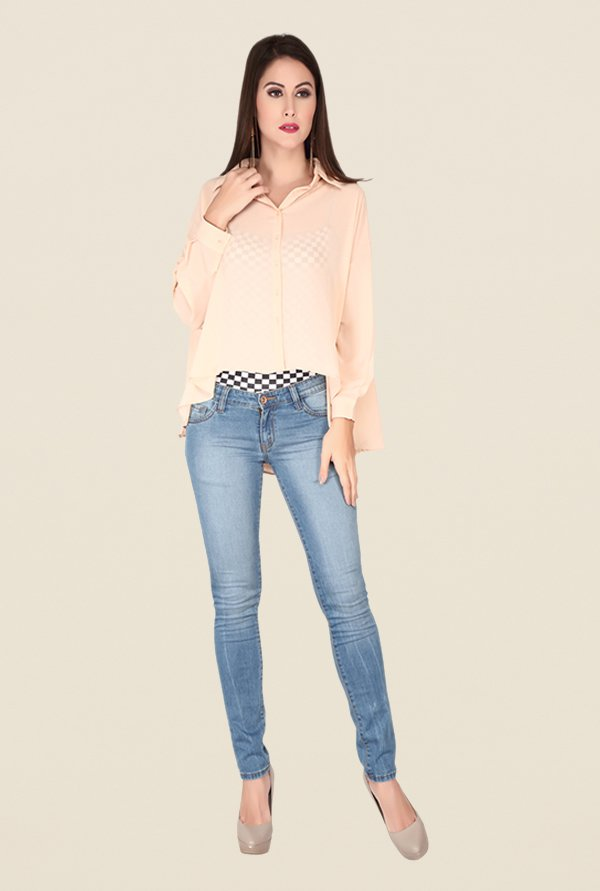 Soie Beige Self Print Top