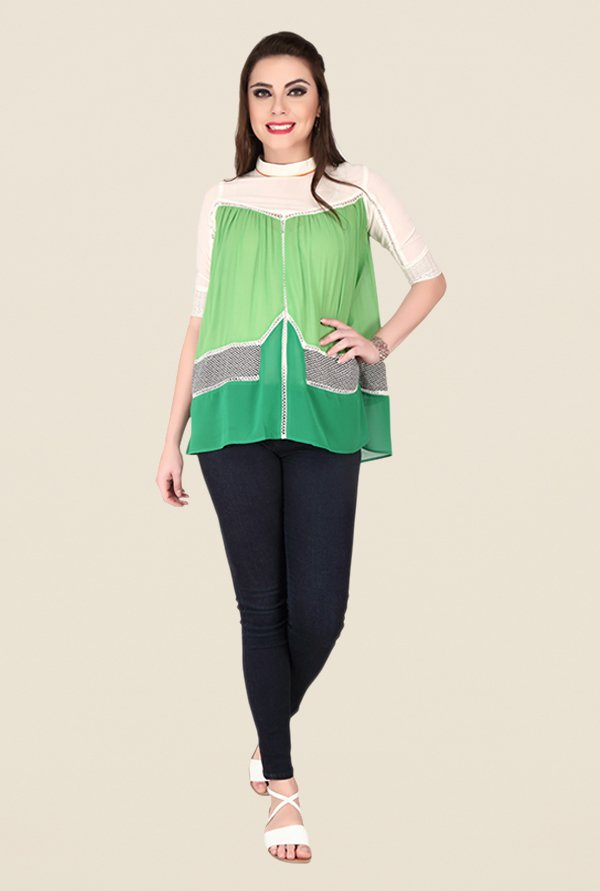 Soie Green Printed Top