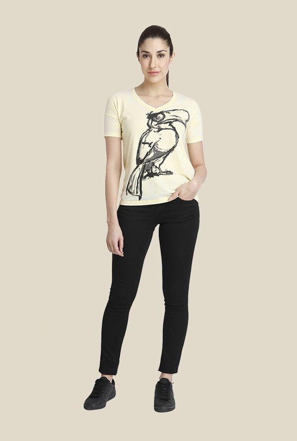 Vero Moda Yellow Printed T Shirt