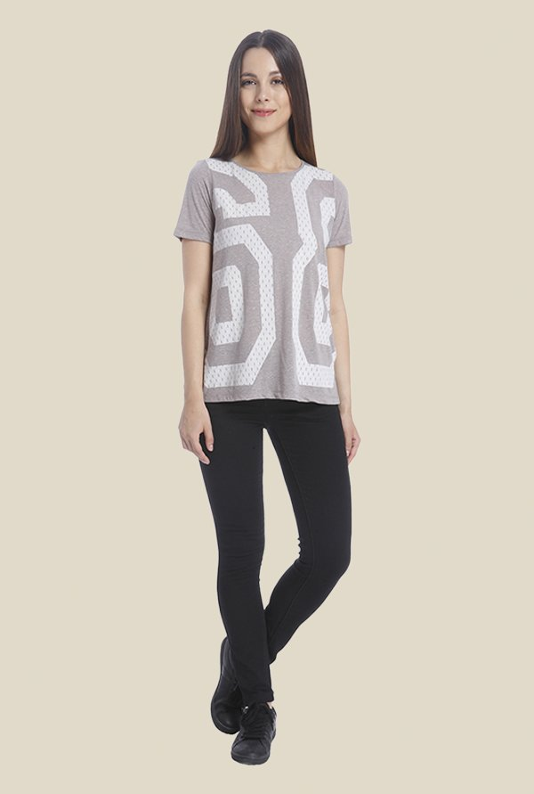 Vero Moda Grey Printed T Shirt