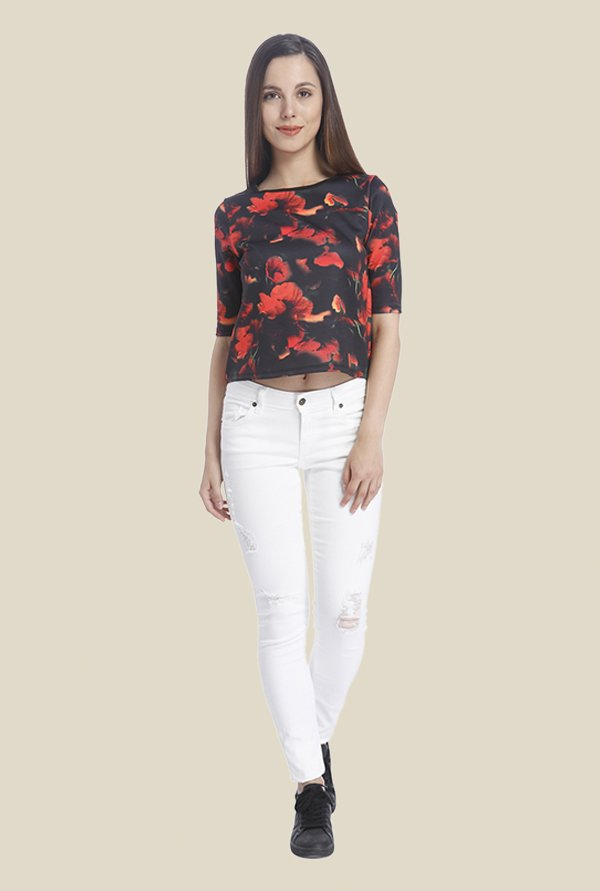 Vero Moda Black & Red Printed Top