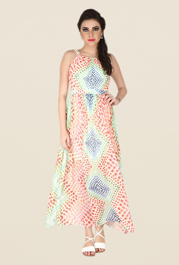 Soie Multicolor Printed Maxi Dress