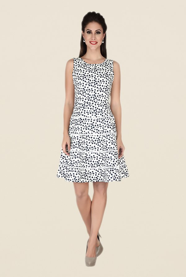 Soie Off White & Black Printed Dress