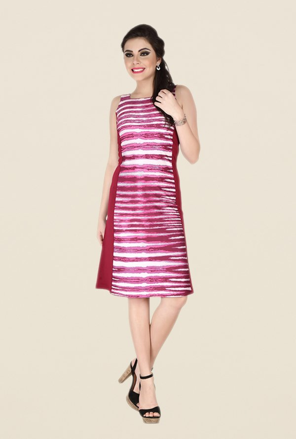 Soie Maroon Printed Dress