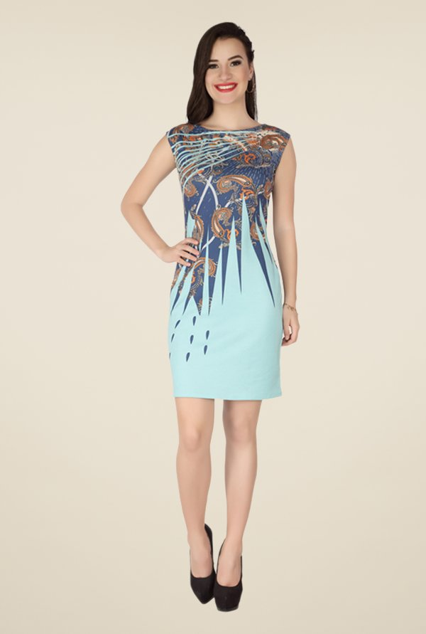 Soie Blue Paisley Print Dress