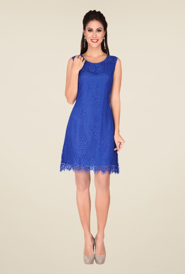 Soie Blue Self Print Dress