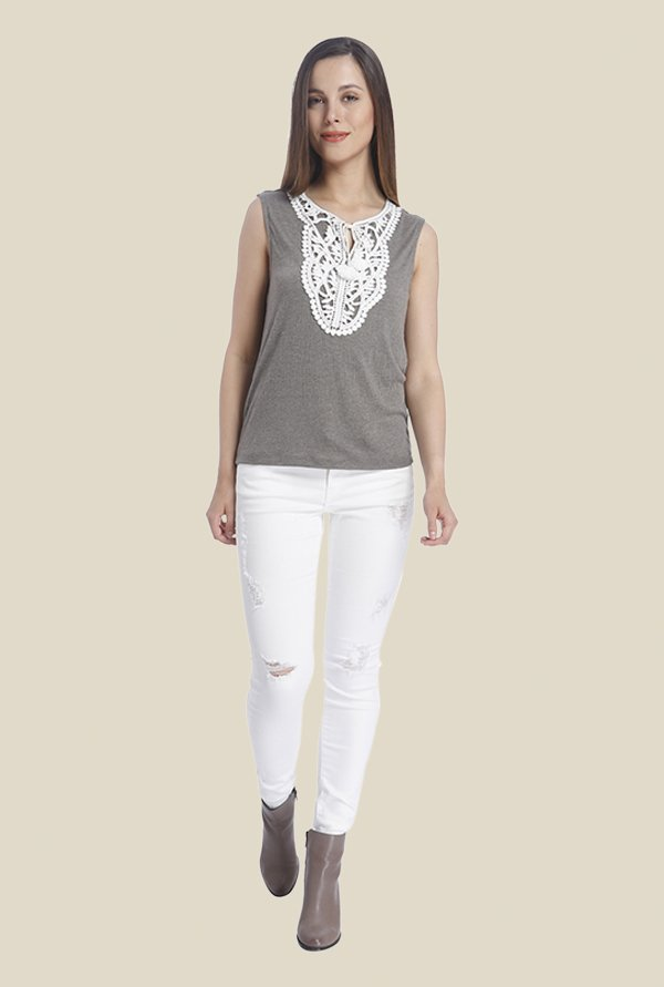 Vero Moda Grey Embroidered Top