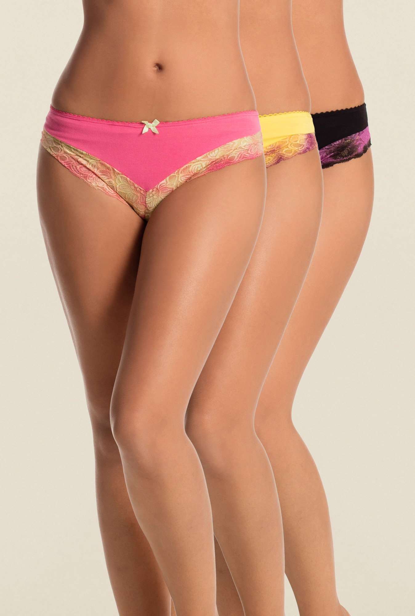 PrettySecrets Pink, Yellow & Black Hipster (Pack Of 3)