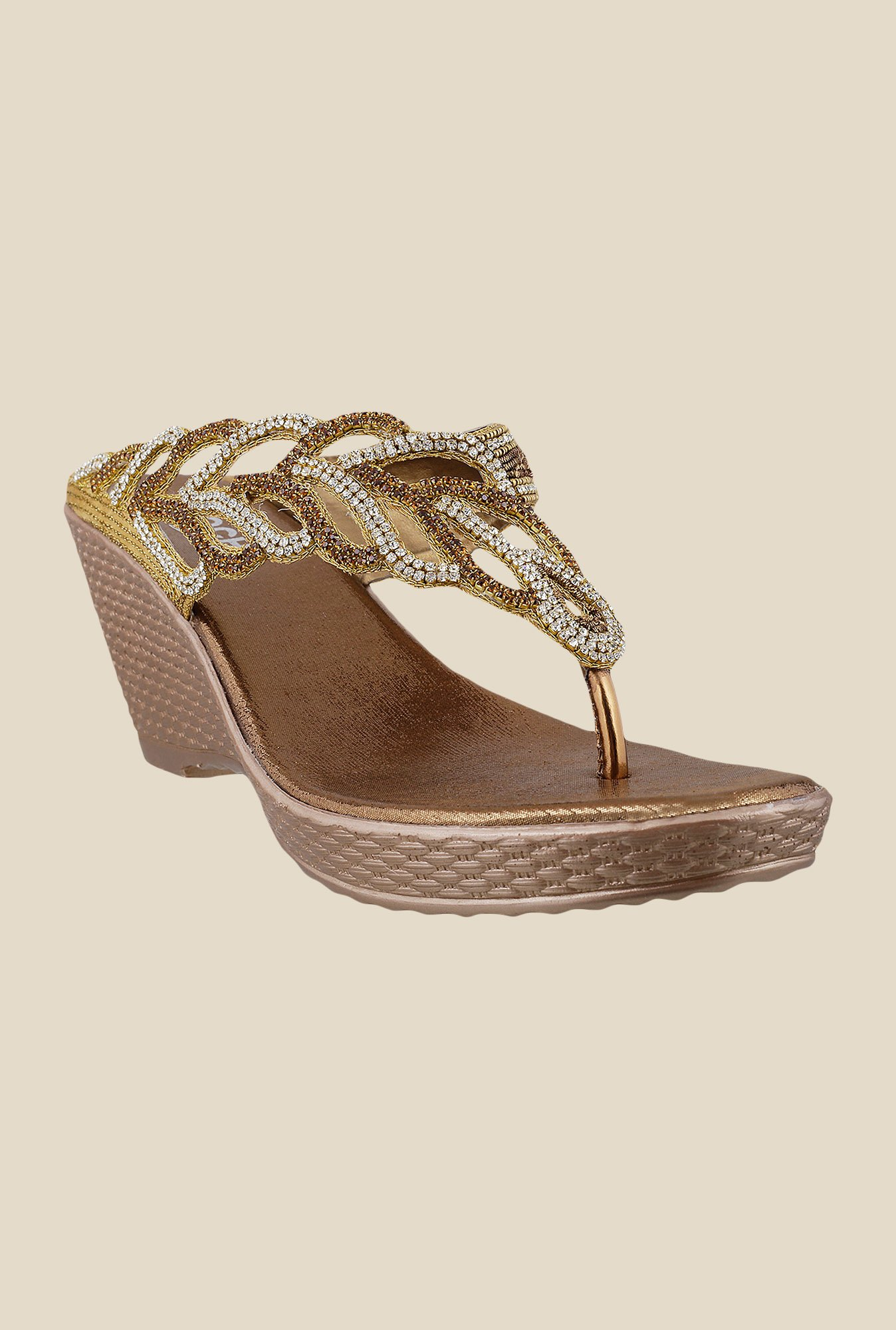 Mochi Antique Gold Wedge Heeled Sandals
