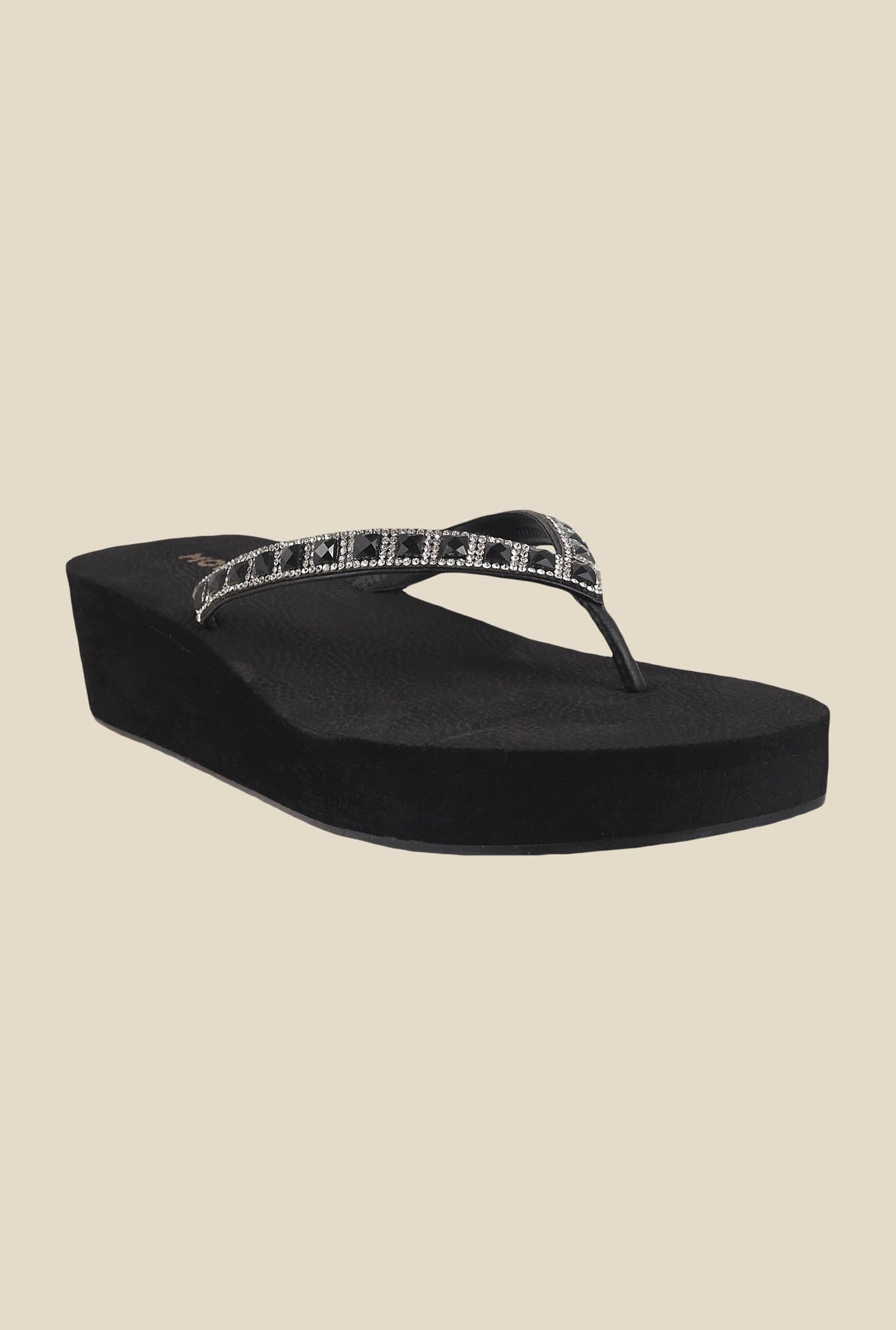 Mochi Black & Silver Thong Sandals