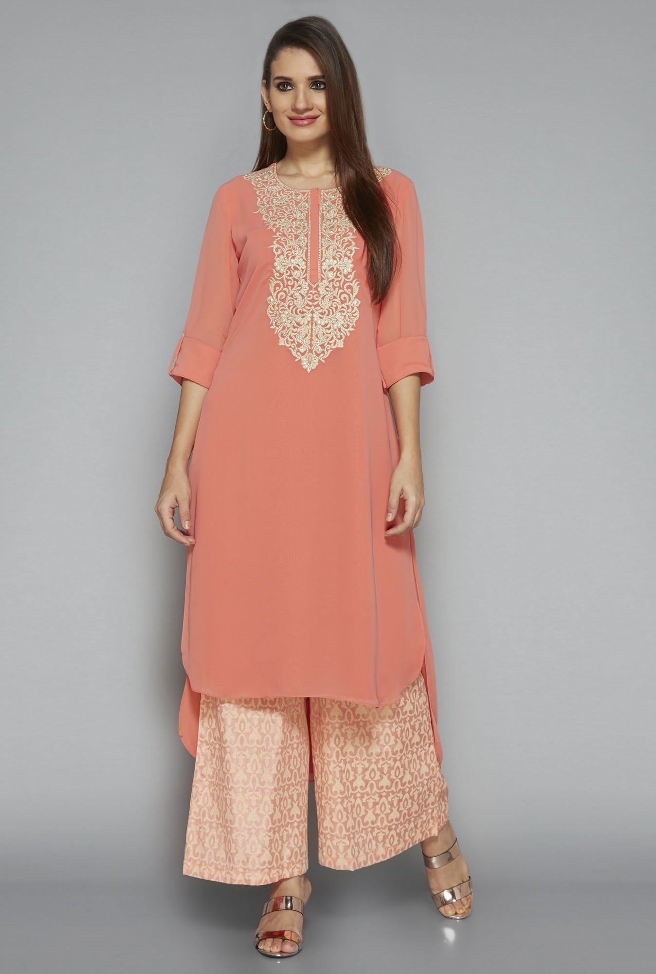 Vark by Westside Peach Embroidered Suit Set