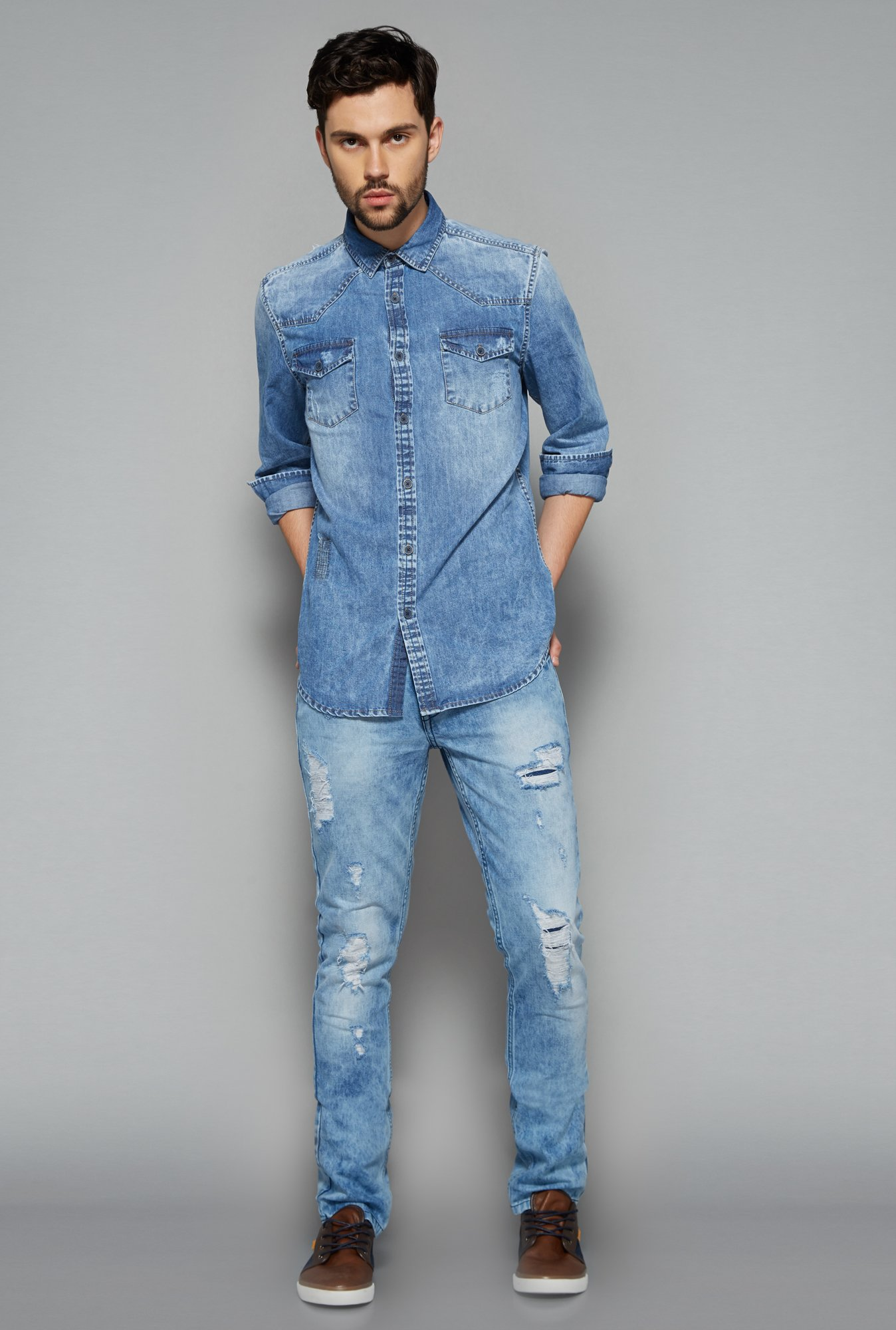 Nuon Men by Westside Blue Distressed Jeans