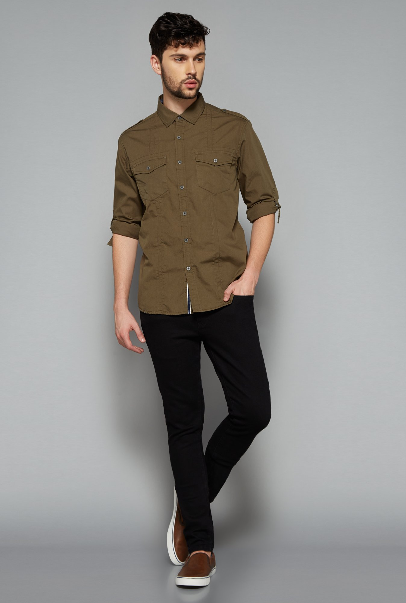 Nuon Men by Westside Olive Solid Shirt