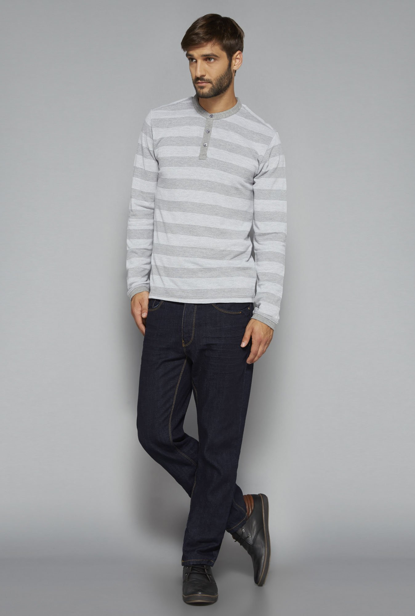 Ascot by Westside Grey Striped T Shirt