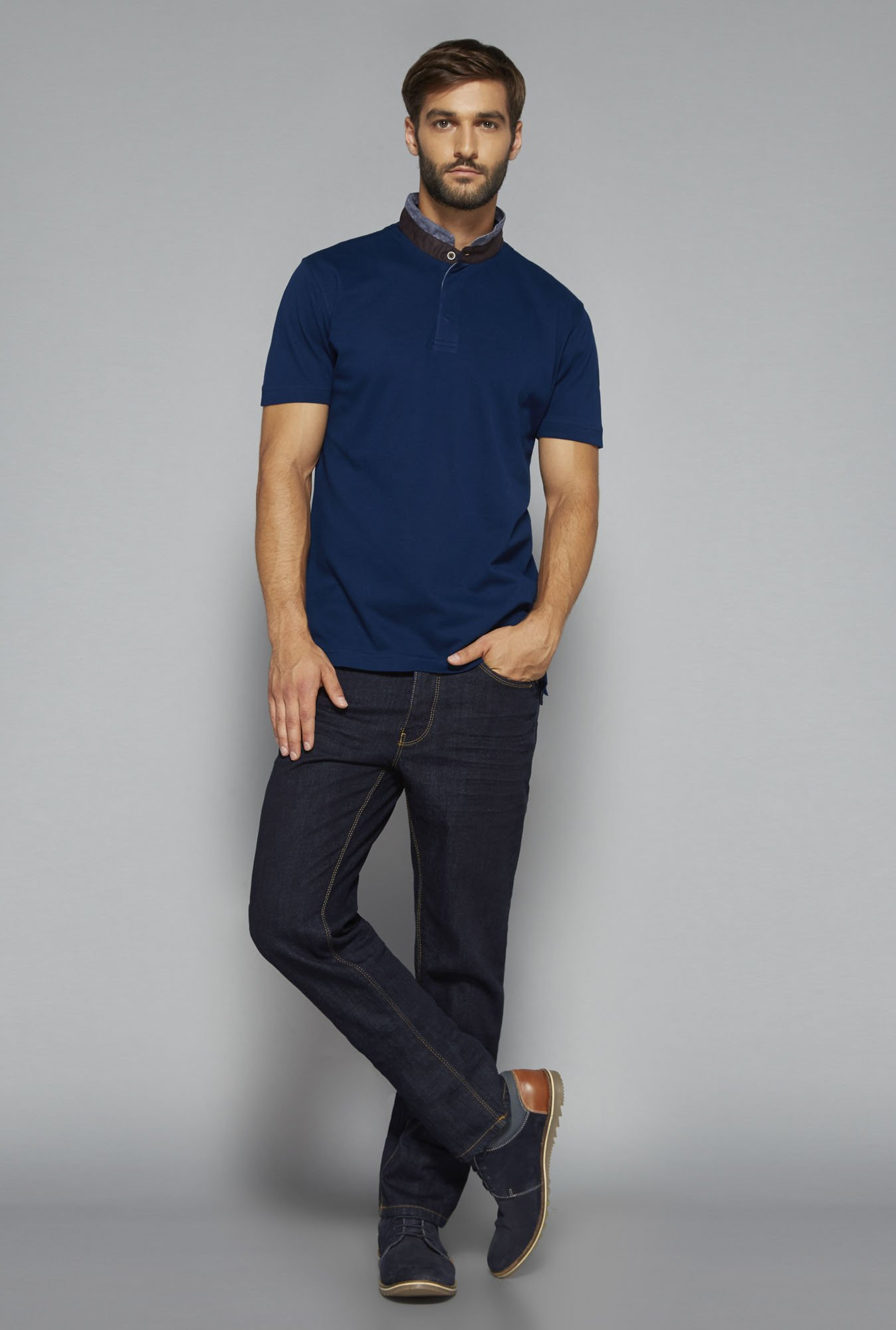 Ascot by Westside Navy Solid T Shirt
