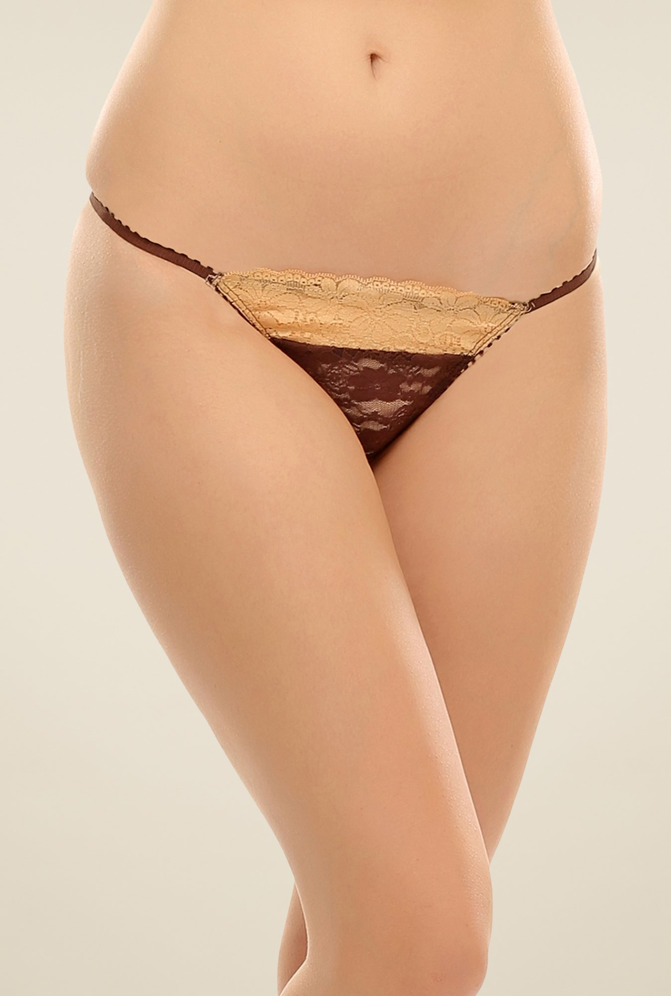Clovia Brown & Beige Lace Thong Panty