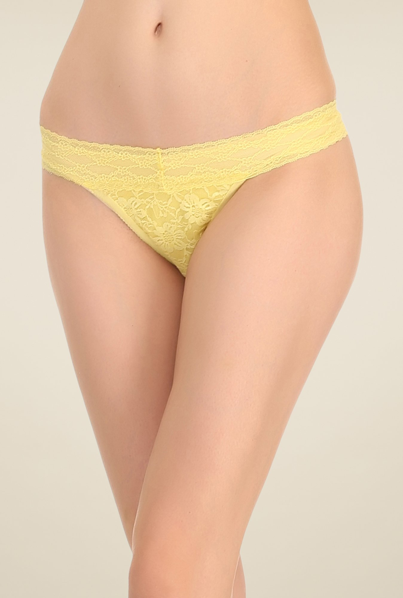 Clovia Yellow Lacy Thong Panty