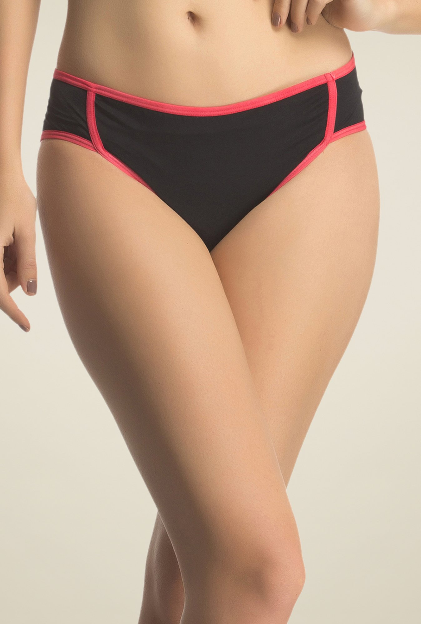 Clovia Black & Orange Strappy Bikini Panty