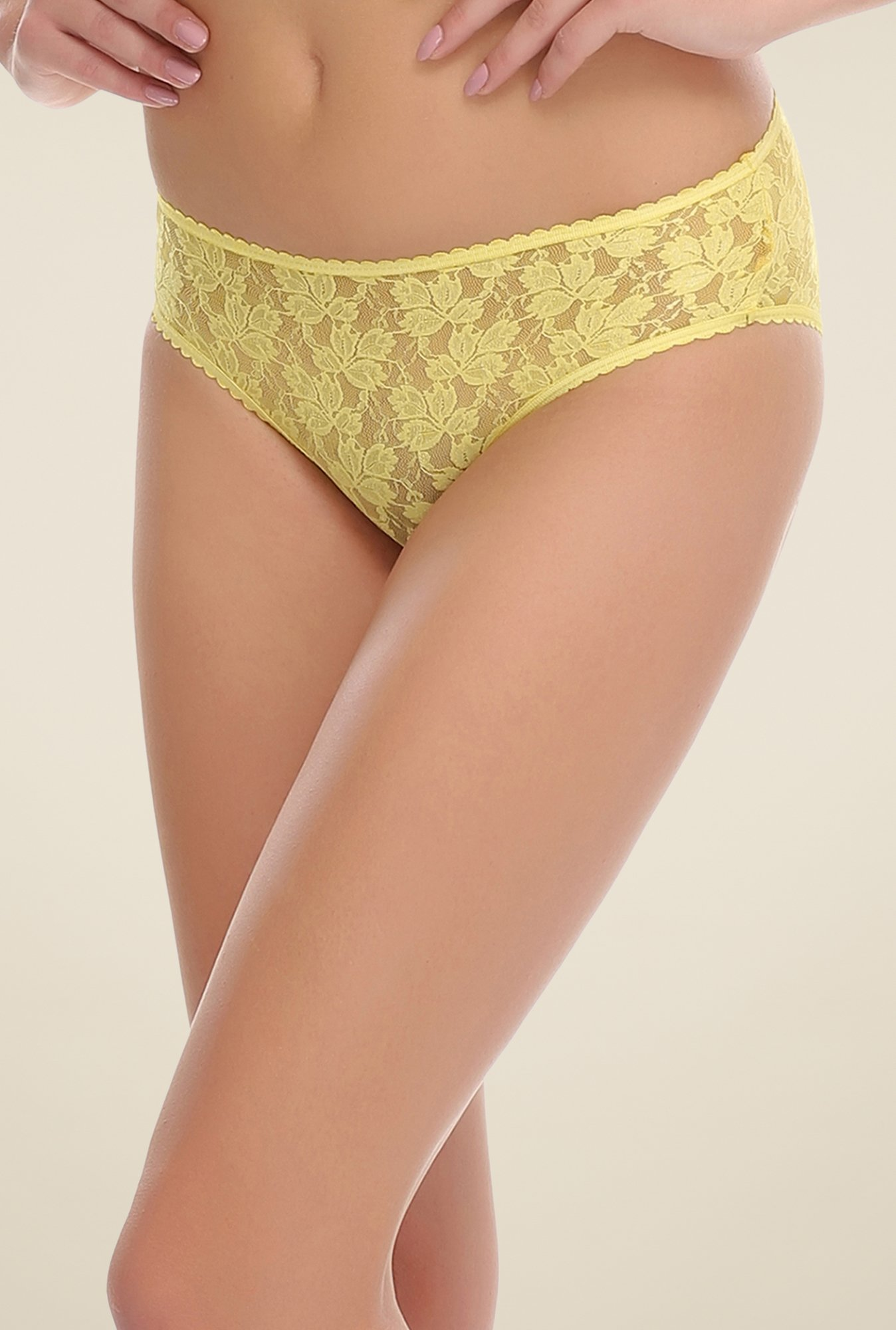 Clovia Yellow Lace Brief