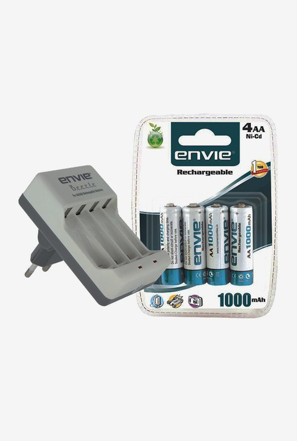 Envie ECR-20 Charger with 4xAA 1000 mAh Battery (White)