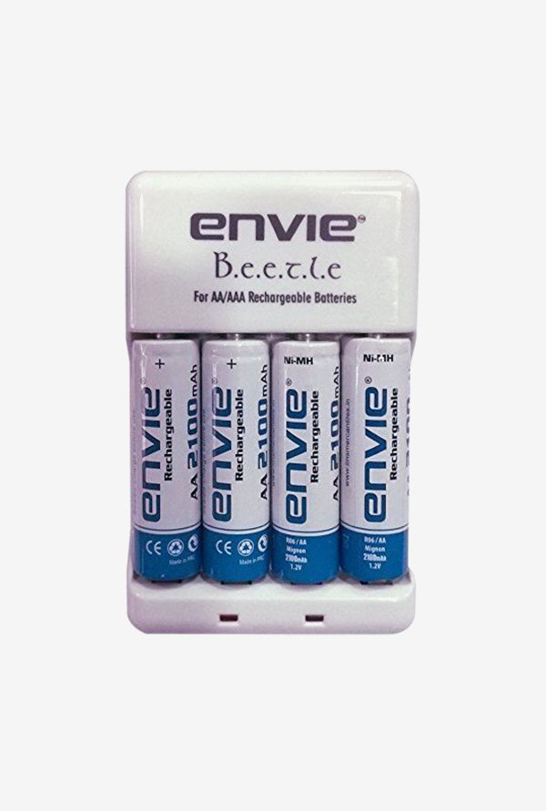Envie ECR-20 Charger with 4xAA 2100 mAh Battery (White)