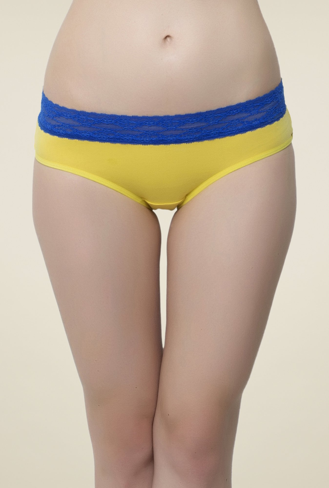 Clovia Yellow & Blue Lace Hipster Panty