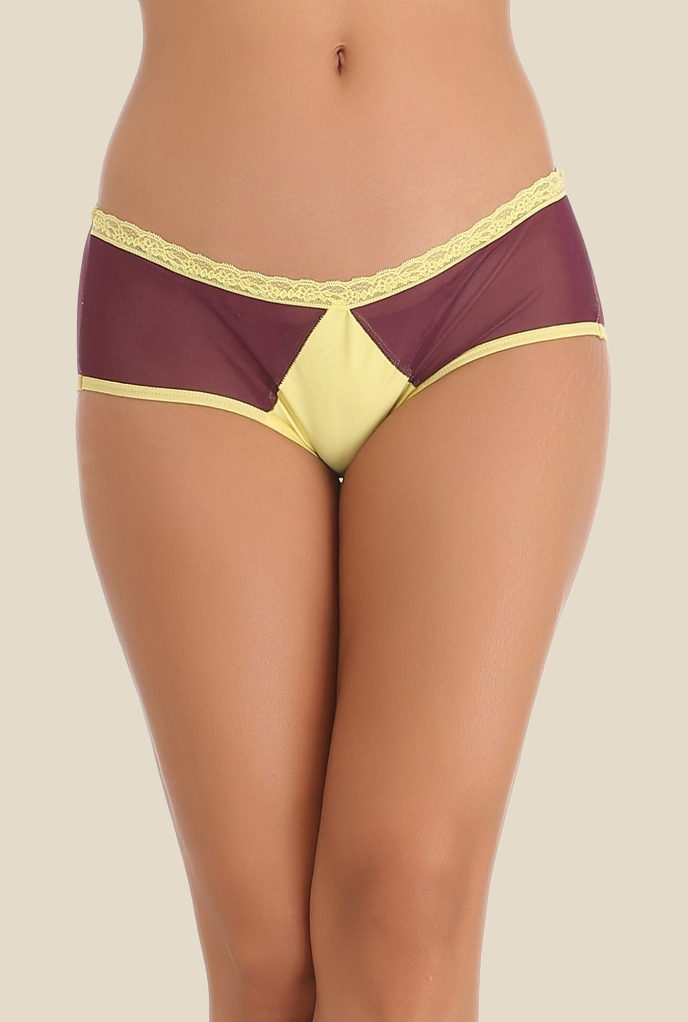Clovia Purple & Yellow Solid Hipster Panty